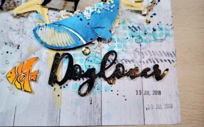 LO  MixMedia veraniego decorado con Stencil