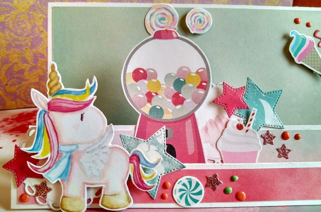 Invitación infantil para fiesta de cumpleaños y caja de caramelos