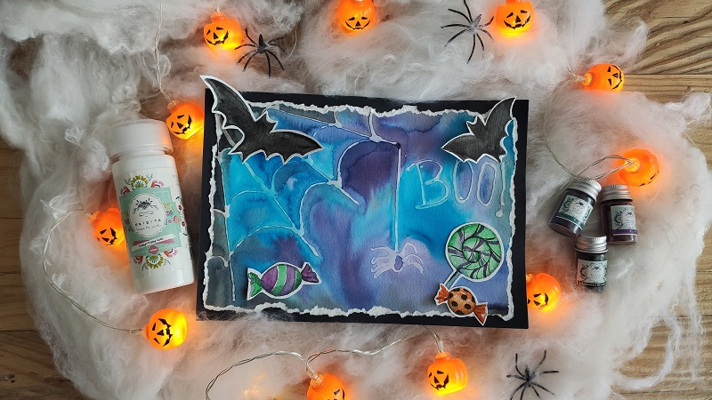 Tarjeta Halloween con pigmentos
