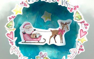 Adorno de navidad redondo con cartón